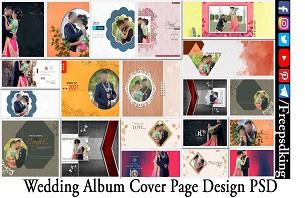 Wedding Album Cover Page Design PSD