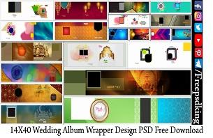 14X40 Wedding Album Wrapper Design PSD Free Download