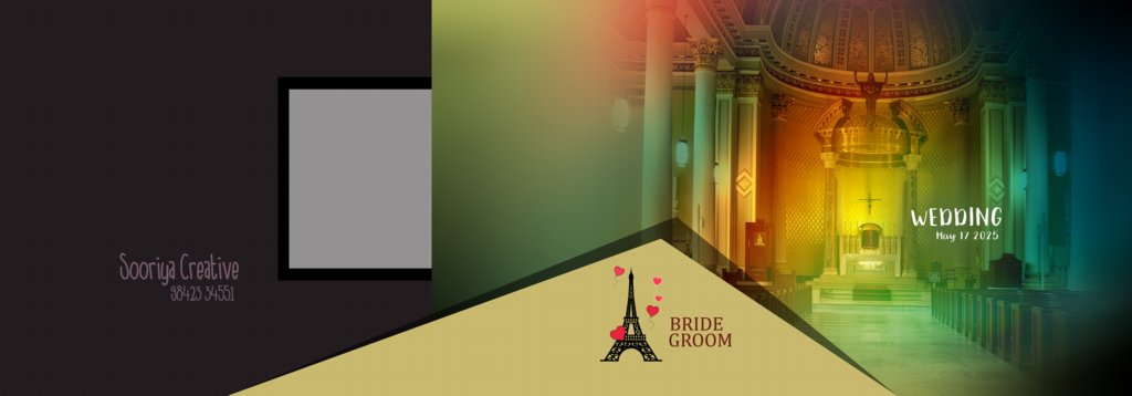 14X40 Wedding Album Wrapper Design PSD