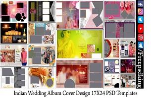 Indian Wedding Album Cover Design 17X24 PSD Templates