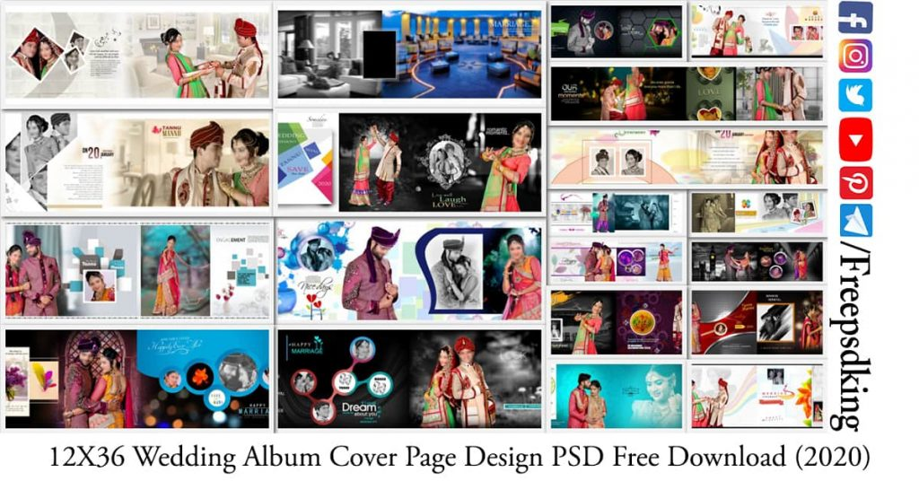 12X36 Wedding Album Cover Page Design PSD Free Download